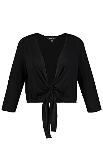 Ulla Popken Damen große Größen Übergrößen Plus Size Bolero, Kurze Jacke, Jersey, 3/4-Arm, Saumknoten schwarz 50+...