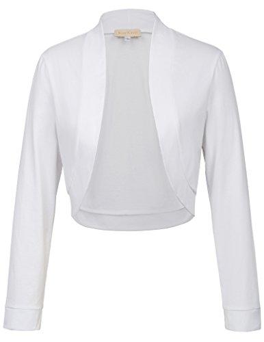 Kate Kasin Damen Pure Color Cardigan mit offener Vorderseite für Teeparty Weiß 823 XL