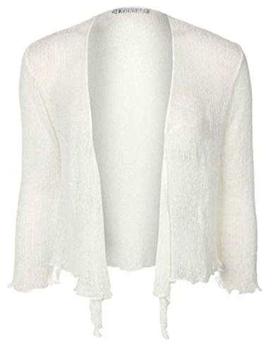 Bolero-Jacke, Strickware, schlicht, kurz, zum Schnüren, Weiß One size