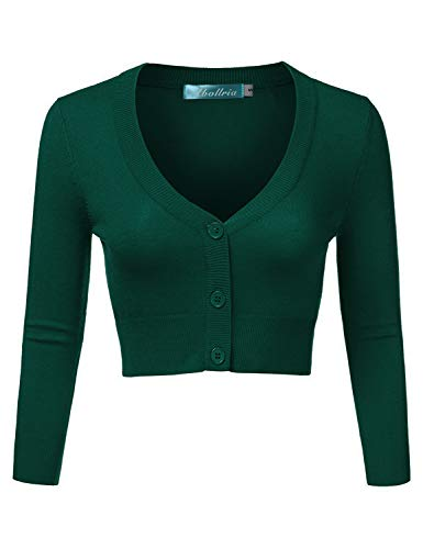 Abollria Damen Bolero Kurze Strickjacke Langarm Cardigan Elegante Jacke V Ausschnitt mit Knopf,Grün,S