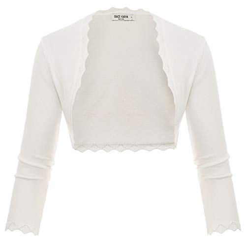 GRACE KARIN Damen Cropped Knit Bolero für Kleid Open Front Kurz Strickjacke Elegant Cardigan M CL960-2
