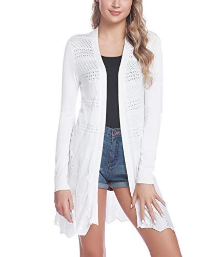 iClosam Damen Cardigan Lang Dünne Jacke mit Leichter Transparenz Langarm Strickjacke (#Weiß, M)