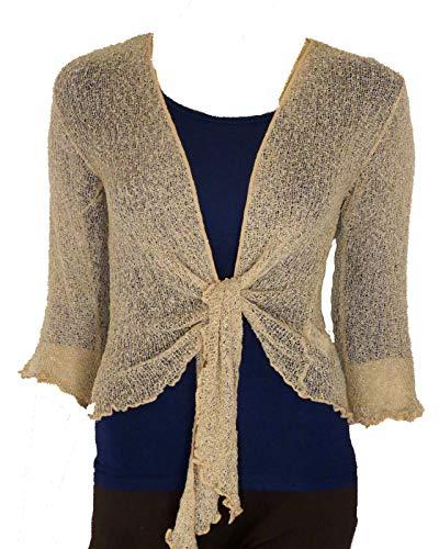 Bolero-Jacke, Strickware, schlicht, kurz, zum Schnüren, Beige One size